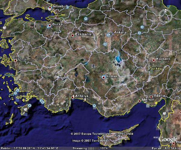 Спутниковая карта турции