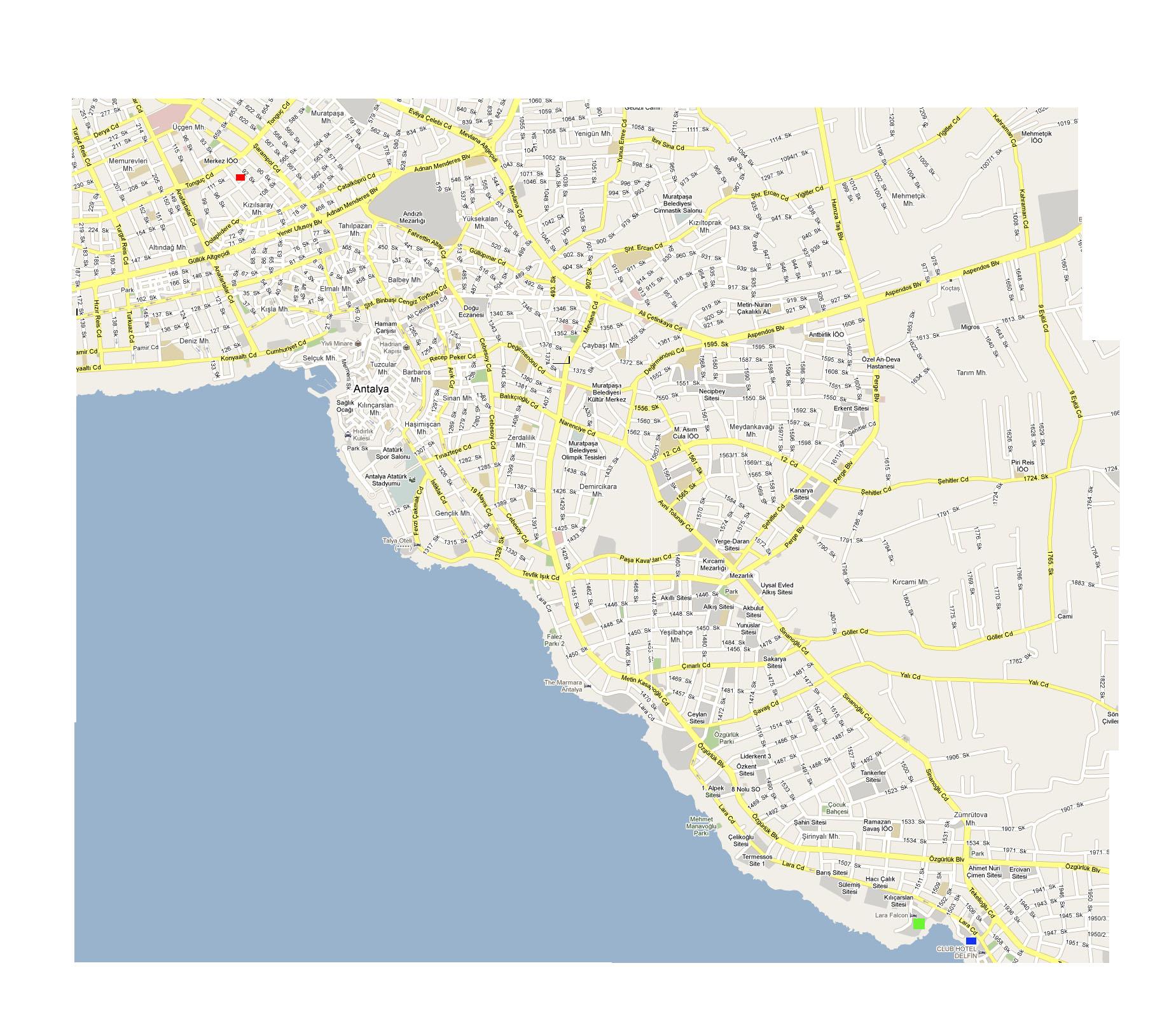 Карта анталии и региона анталии